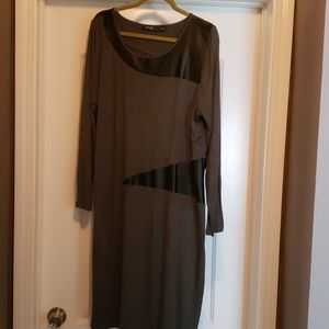 Vintage Eloquii Gray and Black Faux leather dress